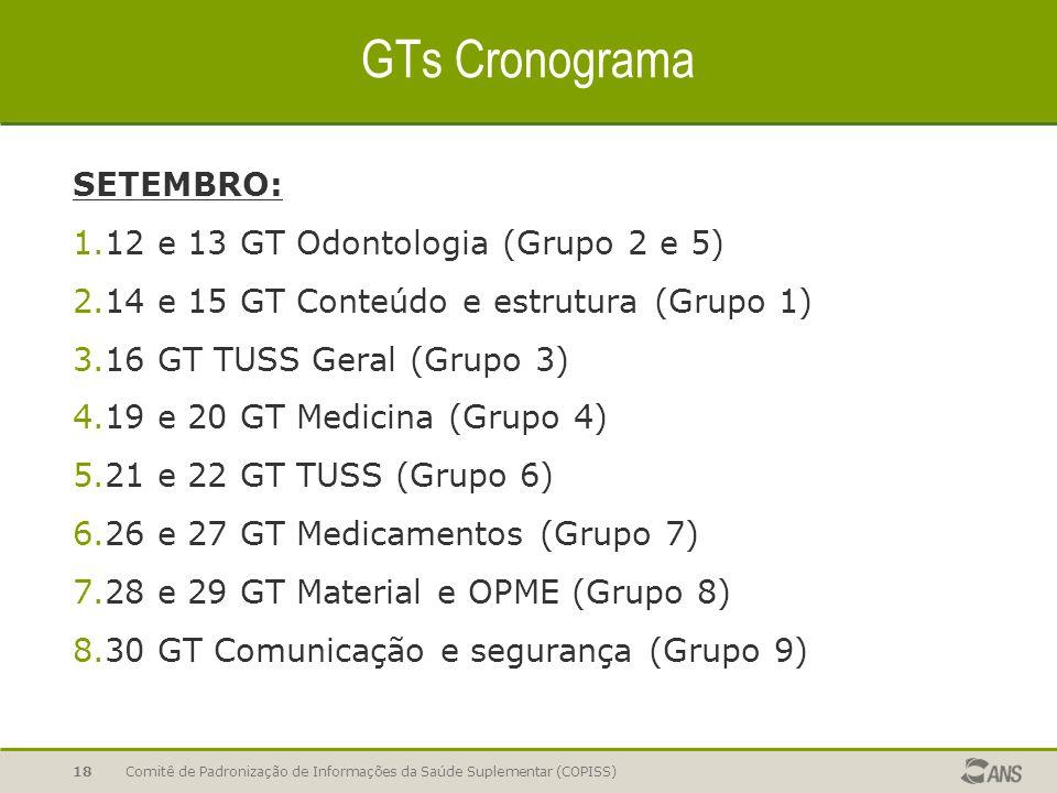 GTs Cronograma SETEMBRO: 1.12 e 13 GT Odontologia (Grupo 2 e 5) 2.14 e 15 GT Conteúdo e estrutura (Grupo 1) 3.16 GT TUSS Geral (Grupo 3) 4.19 e 20 GT Medicina (Grupo 4) 5.21 e 22 GT TUSS (Grupo 6) 6.26 e 27 GT Medicamentos (Grupo 7) 7.28 e 29 GT Material e OPME (Grupo 8) 8.30 GT Comunicação e segurança (Grupo 9) Comitê de Padronização de Informações da Saúde Suplementar (COPISS)18