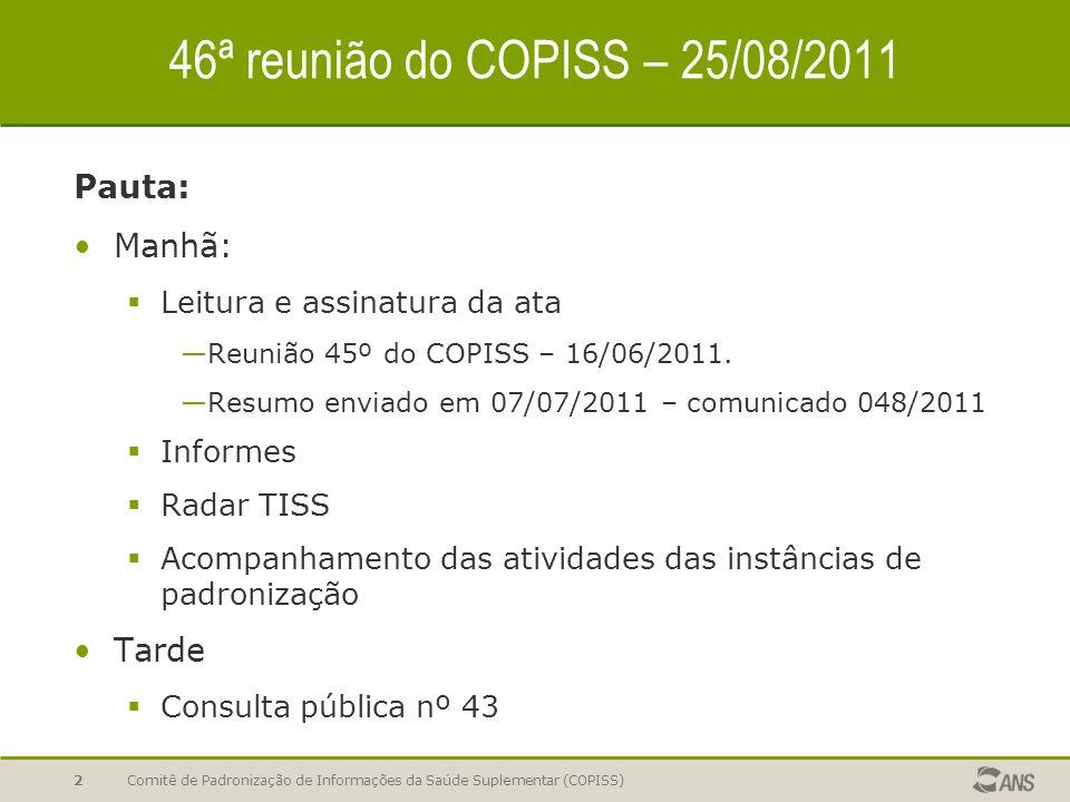 Comitê de Padronização de Informações da Saúde Suplementar (COPISS)2 46ª reunião do COPISS – 25/08/2011 Pauta: Manhã:  Leitura e assinatura da ata —Reunião 45º do COPISS – 16/06/2011.