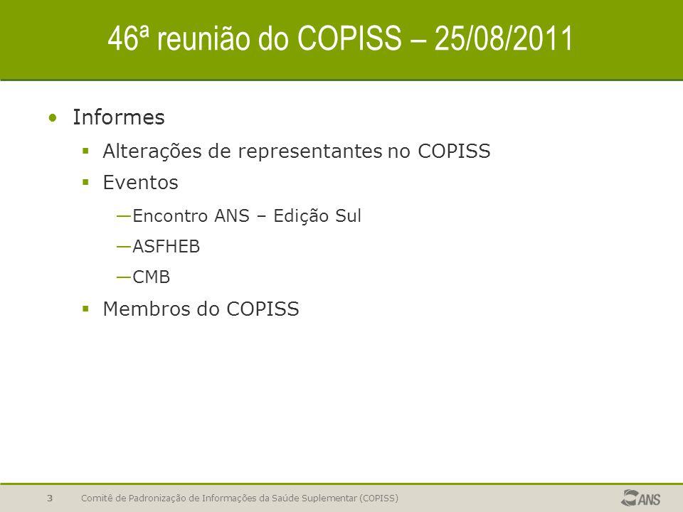 Comitê de Padronização de Informações da Saúde Suplementar (COPISS)3 46ª reunião do COPISS – 25/08/2011 Informes  Alterações de representantes no COPISS  Eventos —Encontro ANS – Edição Sul —ASFHEB —CMB  Membros do COPISS
