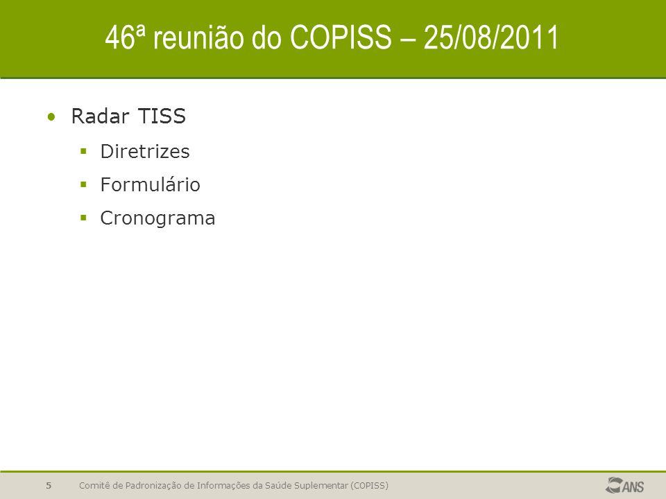 46ª reunião do COPISS – 25/08/2011 Radar TISS  Diretrizes  Formulário  Cronograma Comitê de Padronização de Informações da Saúde Suplementar (COPISS)5