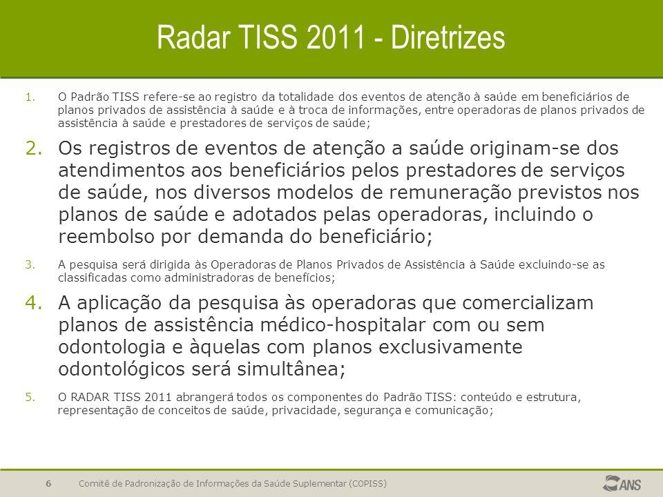Radar TISS 2011 - Diretrizes 1.O Padrão TISS refere-se ao registro da totalidade dos eventos de atenção à saúde em beneficiários de planos privados de