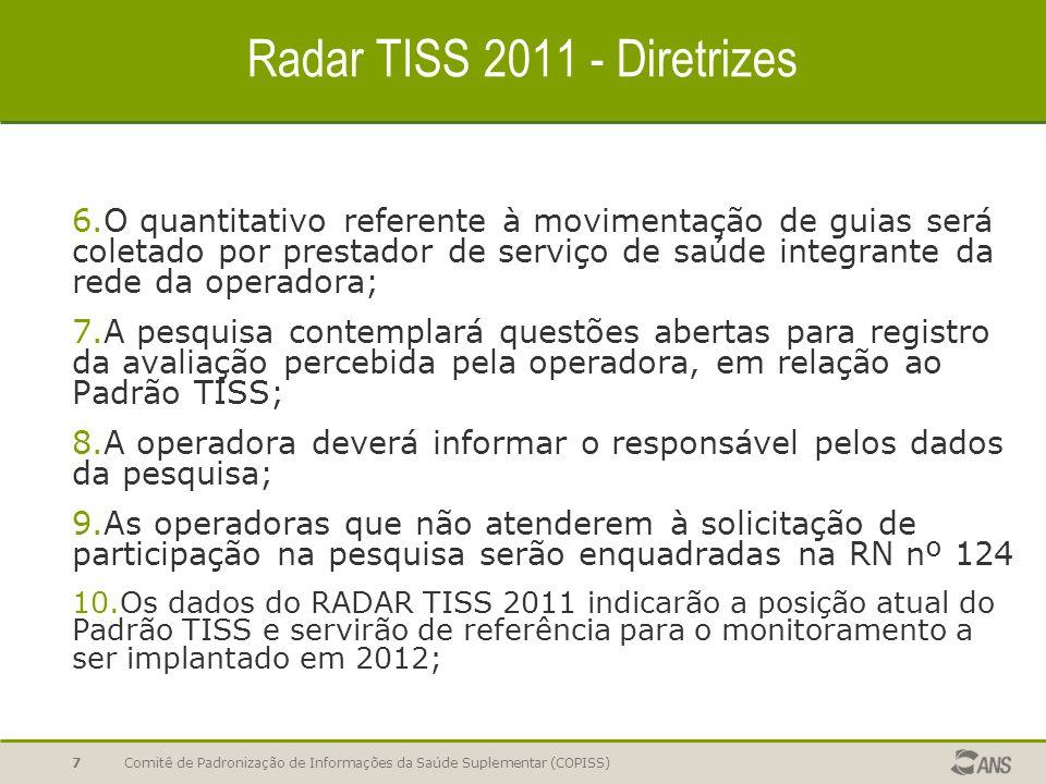 Radar TISS 2011 - Diretrizes 6.O quantitativo referente à movimentação de guias será coletado por prestador de serviço de saúde integrante da rede da