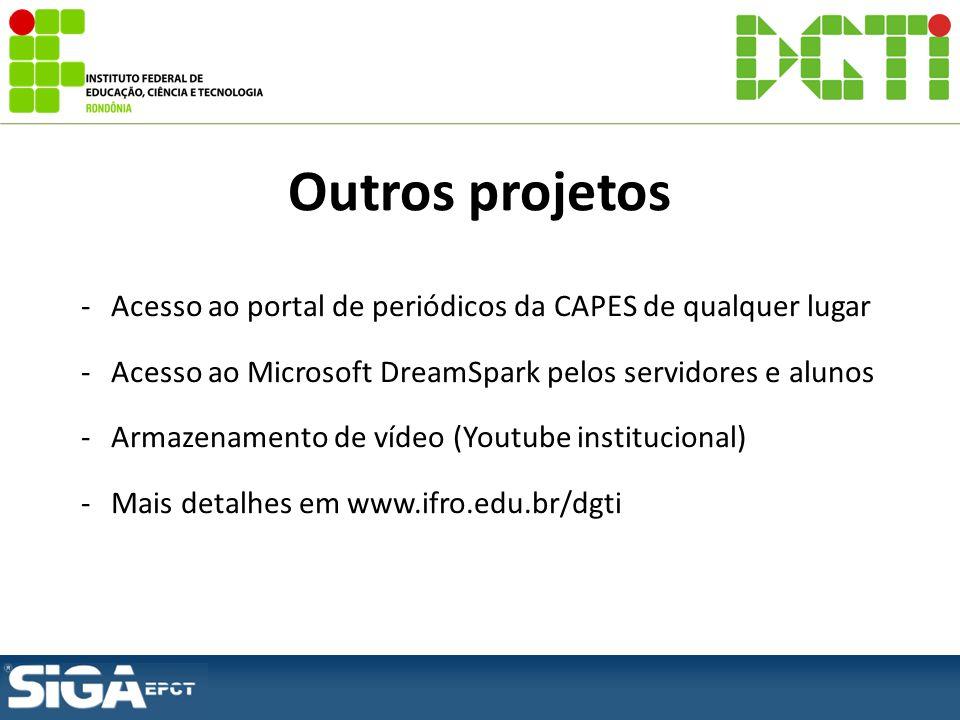 -Acesso ao portal de periódicos da CAPES de qualquer lugar -Acesso ao Microsoft DreamSpark pelos servidores e alunos -Armazenamento de vídeo (Youtube institucional) -Mais detalhes em www.ifro.edu.br/dgti Outros projetos