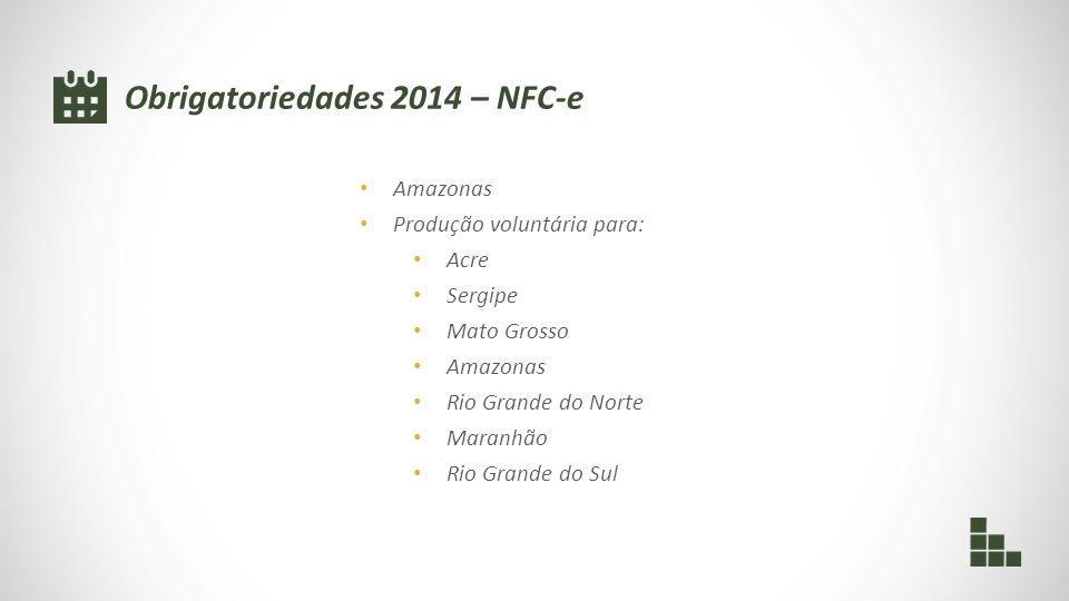 Obrigatoriedades 2014 – NFC-e Amazonas Produção voluntária para: Acre Sergipe Mato Grosso Amazonas Rio Grande do Norte Maranhão Rio Grande do Sul
