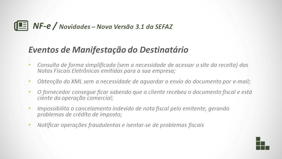 NF-e / Novidades – Nova Versão 3.1 da SEFAZ Eventos de Manifestação do Destinatário Consulta de forma simplificada (sem a necessidade de acessar o sit