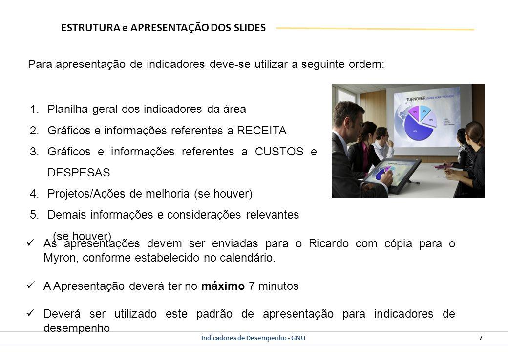 Indicadores de Desempenho - GNU 7 ESTRUTURA e APRESENTAÇÃO DOS SLIDES 1.Planilha geral dos indicadores da área 2.Gráficos e informações referentes a RECEITA 3.Gráficos e informações referentes a CUSTOS e DESPESAS 4.Projetos/Ações de melhoria (se houver) 5.Demais informações e considerações relevantes (se houver) Para apresentação de indicadores deve-se utilizar a seguinte ordem: As apresentações devem ser enviadas para o Ricardo com cópia para o Myron, conforme estabelecido no calendário.