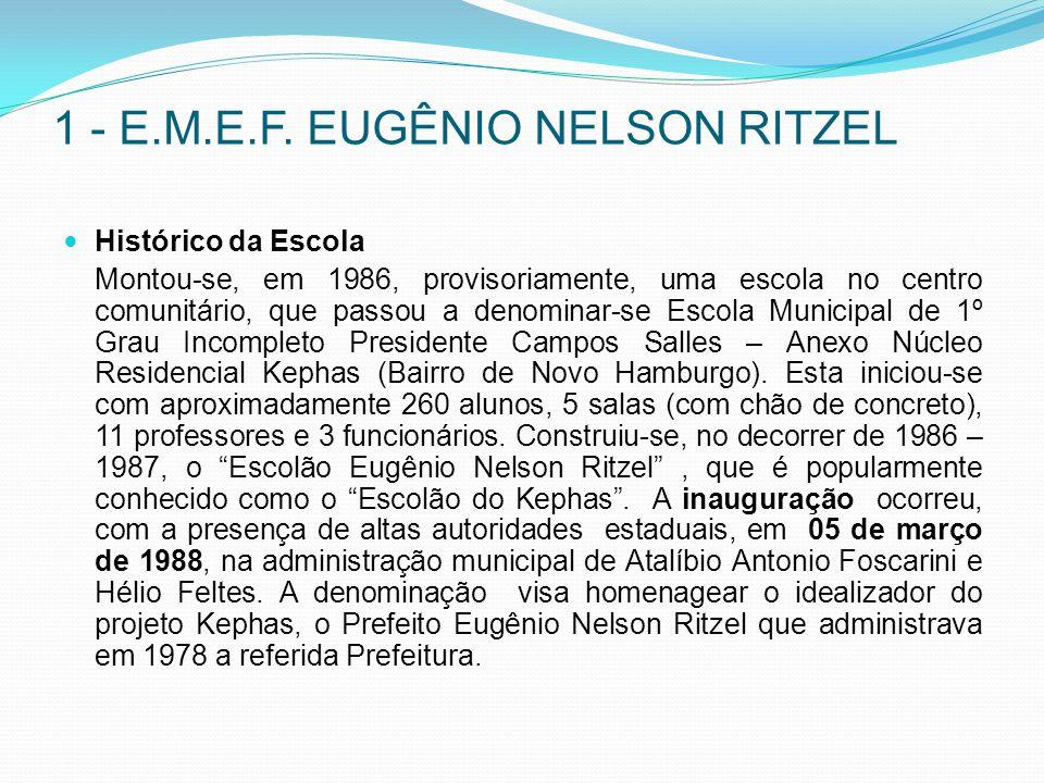 1 - E.M.E.F. EUGÊNIO NELSON RITZEL Histórico da Escola Montou-se, em 1986, provisoriamente, uma escola no centro comunitário, que passou a denominar-s