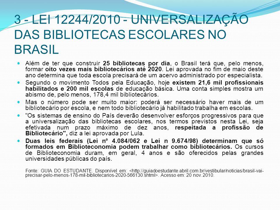 3 - LEI 12244/2010 - UNIVERSALIZAÇÃO DAS BIBLIOTECAS ESCOLARES NO BRASIL Além de ter que construir 25 bibliotecas por dia, o Brasil terá que, pelo men