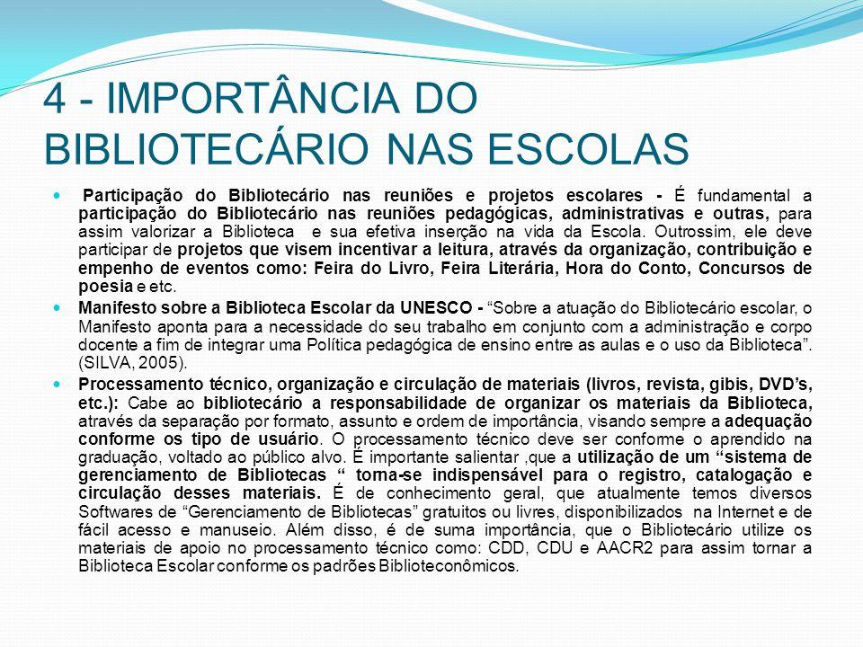 4 - IMPORTÂNCIA DO BIBLIOTECÁRIO NAS ESCOLAS Participação do Bibliotecário nas reuniões e projetos escolares - É fundamental a participação do Bibliot