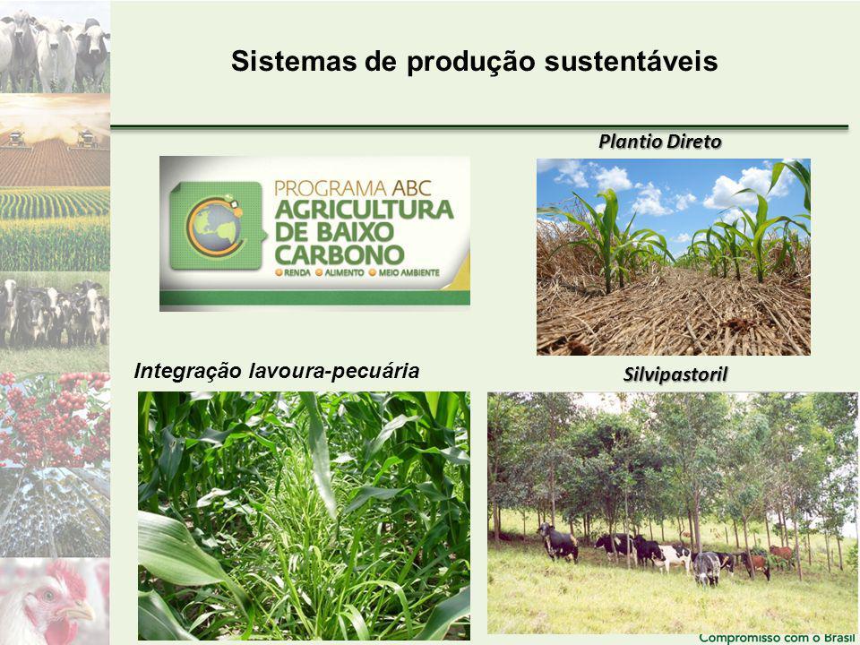 Sistemas de produção sustentáveis Plantio Direto Integração lavoura-pecuária Silvipastoril