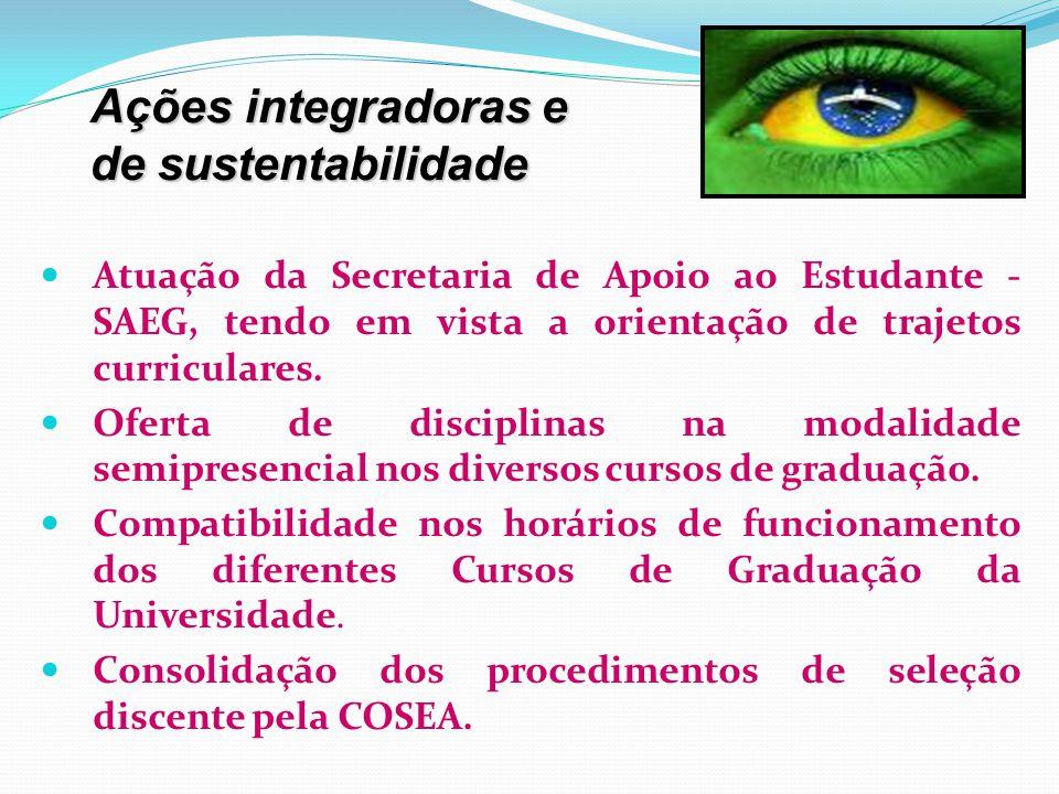 Atuação da Secretaria de Apoio ao Estudante - SAEG, tendo em vista a orientação de trajetos curriculares. Oferta de disciplinas na modalidade semipres