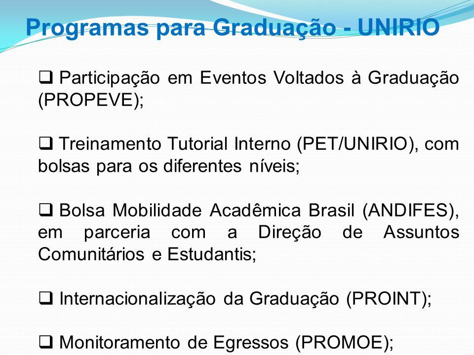  Participação em Eventos Voltados à Graduação (PROPEVE);  Treinamento Tutorial Interno (PET/UNIRIO), com bolsas para os diferentes níveis;  Bolsa M