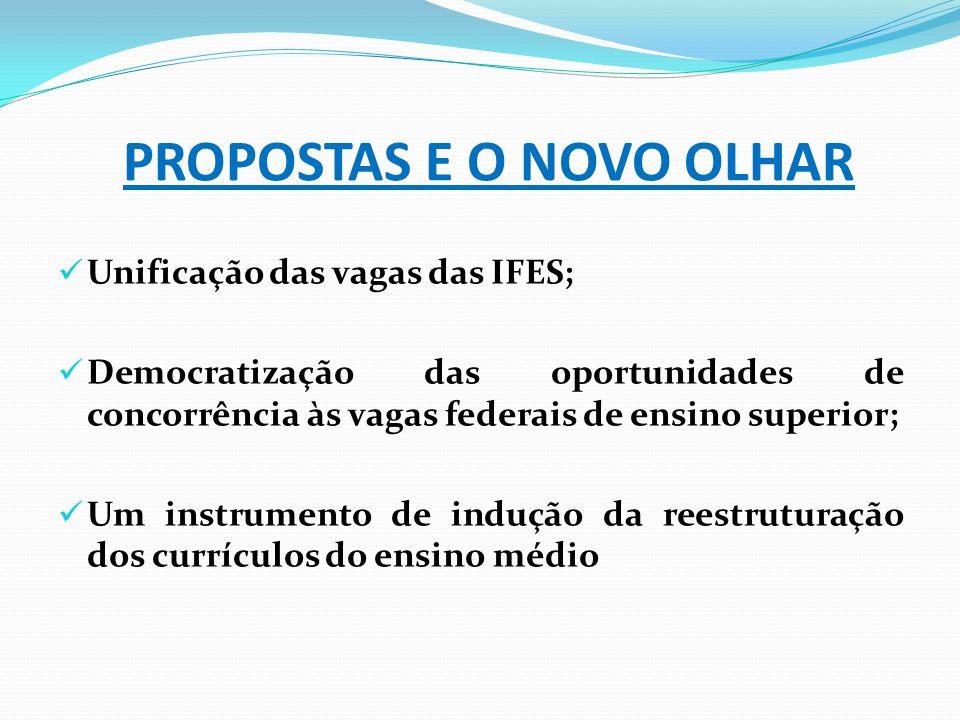 PROPOSTAS E O NOVO OLHAR Unificação das vagas das IFES; Democratização das oportunidades de concorrência às vagas federais de ensino superior; Um inst