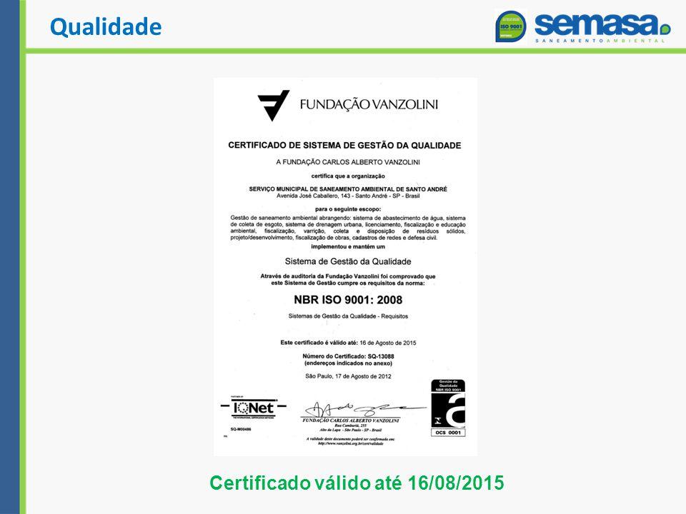 Certificado válido até 16/08/2015 Qualidade