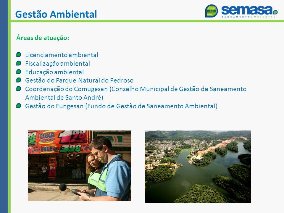 Gestão Ambiental Áreas de atuação: Licenciamento ambiental Fiscalização ambiental Educação ambiental Gestão do Parque Natural do Pedroso Coordenação do Comugesan (Conselho Municipal de Gestão de Saneamento Ambiental de Santo André) Gestão do Fungesan (Fundo de Gestão de Saneamento Ambiental)