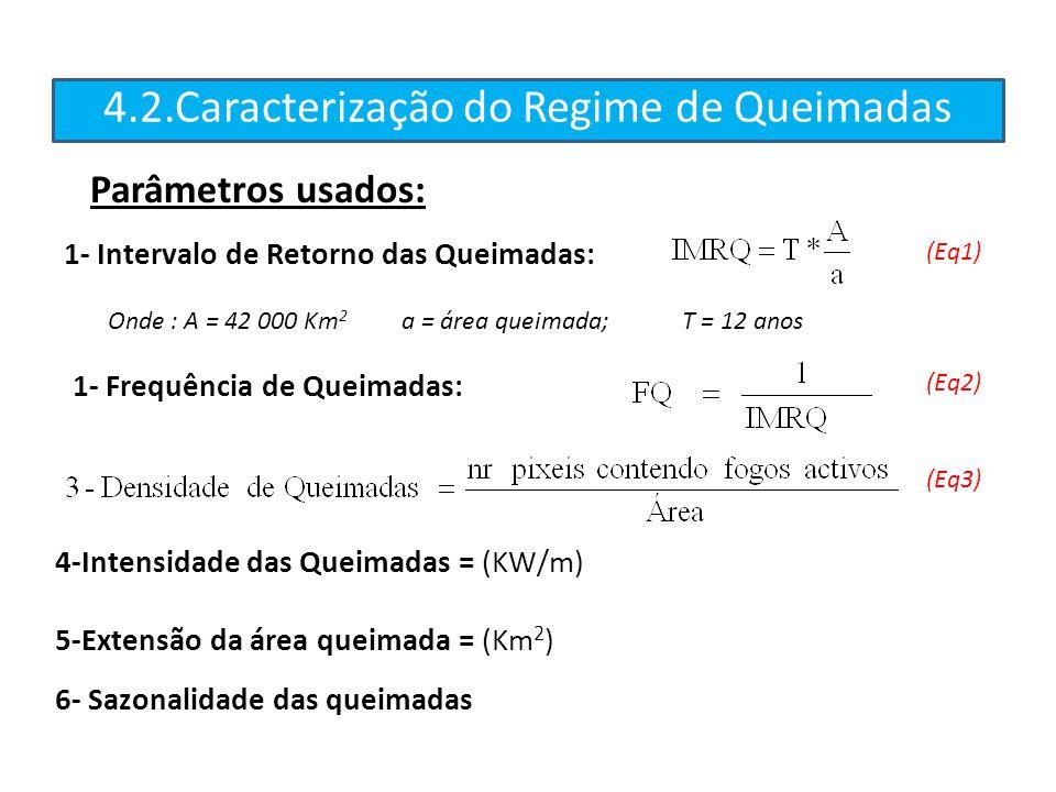 4.2.Caracterização do Regime de Queimadas Onde : A = 42 000 Km 2 a = área queimada; T = 12 anos (Eq1) (Eq2) (Eq3) 4-Intensidade das Queimadas = (KW/m)