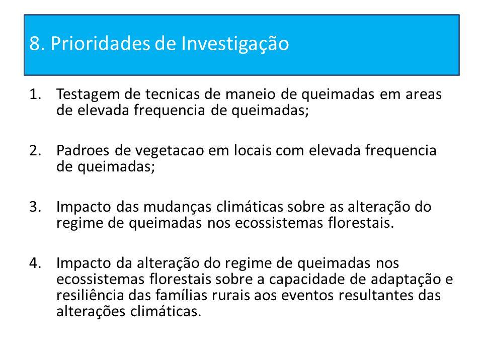 8. Prioridades de Investigação 1.Testagem de tecnicas de maneio de queimadas em areas de elevada frequencia de queimadas; 2.Padroes de vegetacao em lo