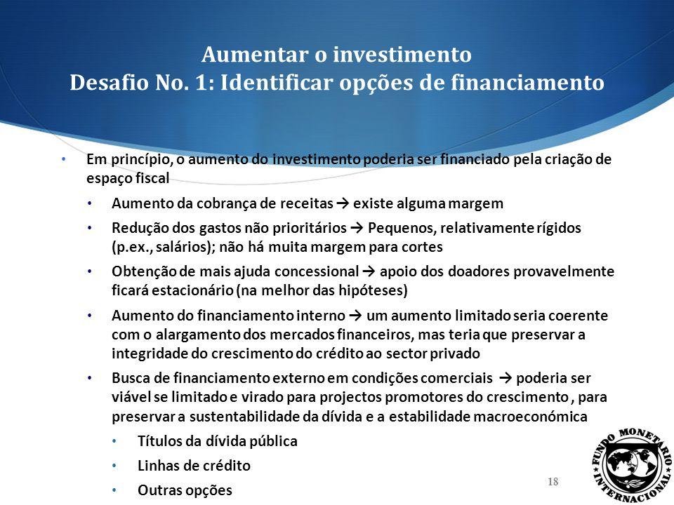 Aumentar o investimento Desafio No. 1: Identificar opções de financiamento Em princípio, o aumento do investimento poderia ser financiado pela criação