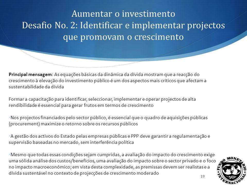 Aumentar o investimento Desafio No. 2: Identificar e implementar projectos que promovam o crescimento 19 Principal mensagem: As equações básicas da di
