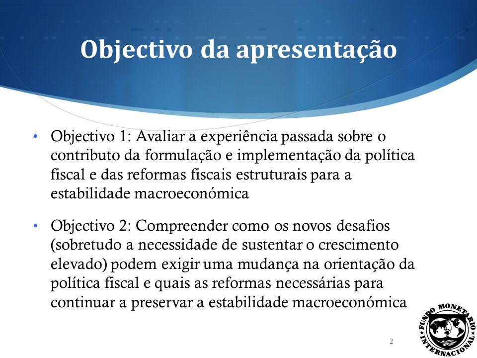 Objectivo da apresentação Objectivo 1: Avaliar a experiência passada sobre o contributo da formulação e implementação da política fiscal e das reforma