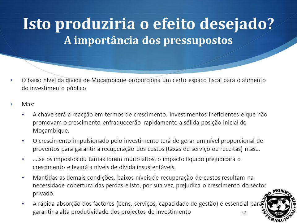 Isto produziria o efeito desejado? A importância dos pressupostos O baixo nível da dívida de Moçambique proporciona um certo espaço fiscal para o aume