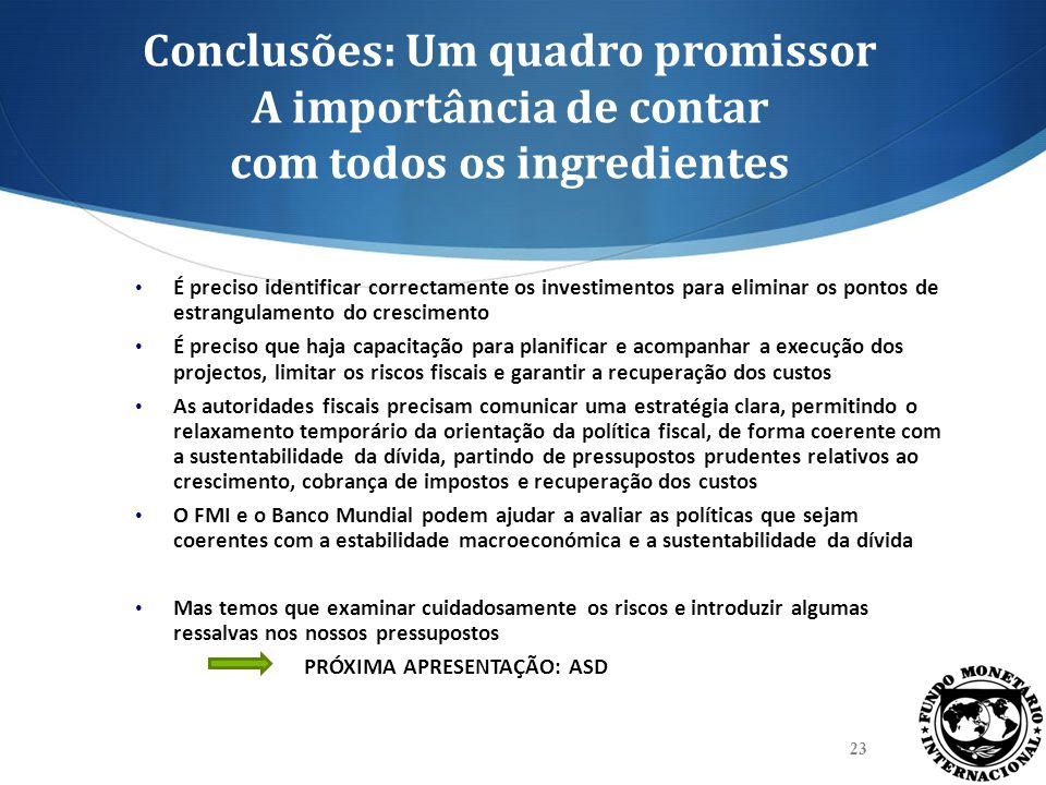 Conclusões: Um quadro promissor A importância de contar com todos os ingredientes É preciso identificar correctamente os investimentos para eliminar o