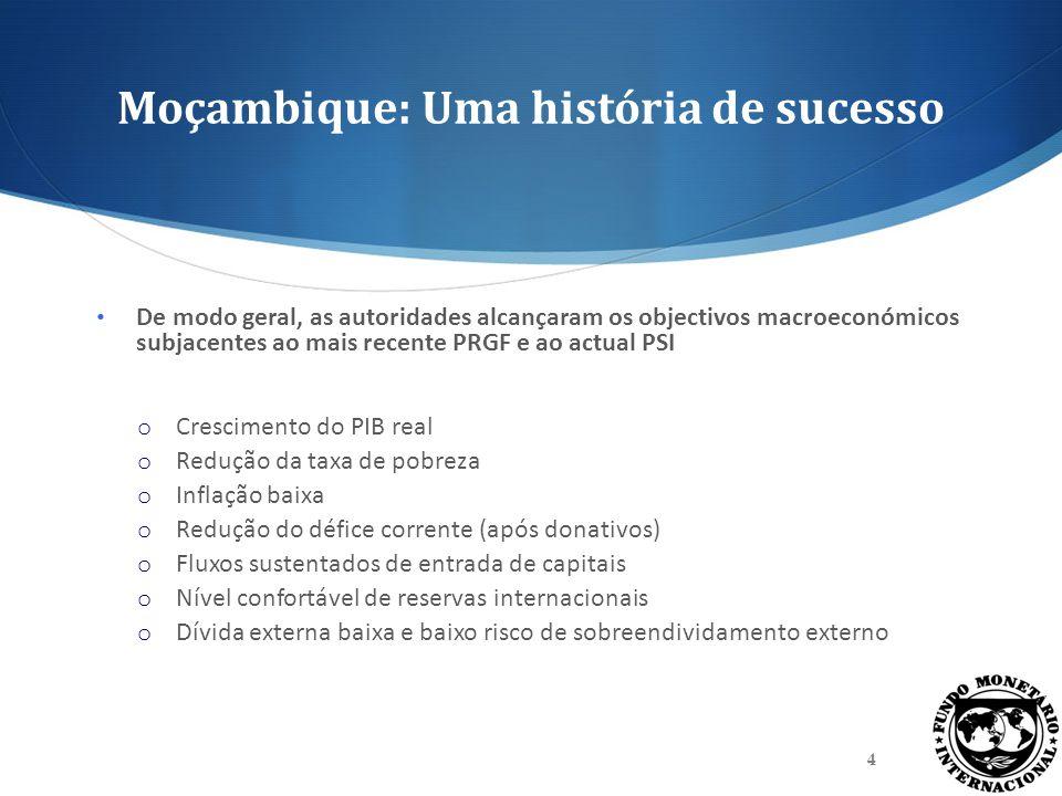 Moçambique: Uma história de sucesso De modo geral, as autoridades alcançaram os objectivos macroeconómicos subjacentes ao mais recente PRGF e ao actua