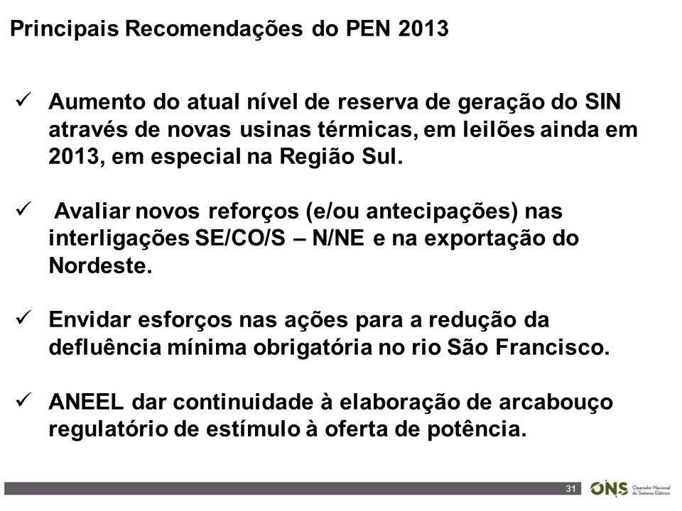 31 Principais Recomendações do PEN 2013 Aumento do atual nível de reserva de geração do SIN através de novas usinas térmicas, em leilões ainda em 2013, em especial na Região Sul.