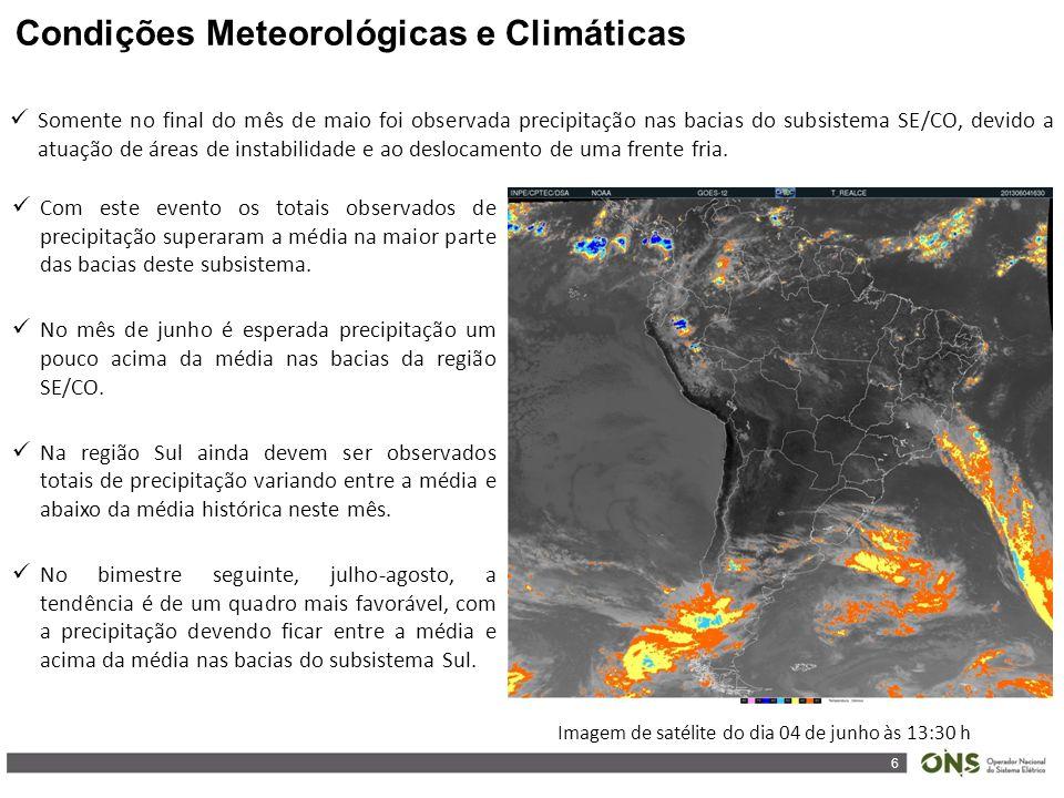 6 Somente no final do mês de maio foi observada precipitação nas bacias do subsistema SE/CO, devido a atuação de áreas de instabilidade e ao deslocamento de uma frente fria.