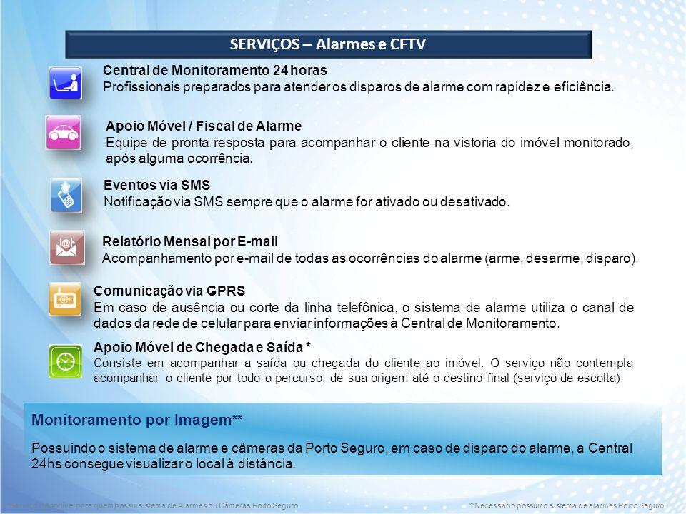 SERVIÇOS – Alarmes e CFTV Central de Monitoramento 24 horas Profissionais preparados para atender os disparos de alarme com rapidez e eficiência. Apoi