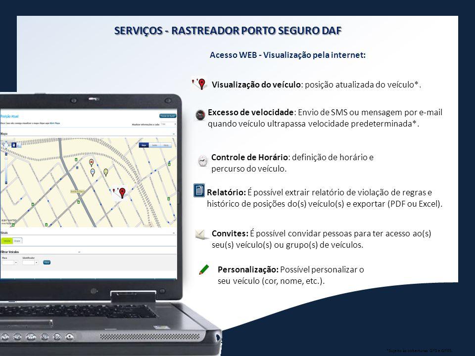Acesso WEB - Visualização pela internet: Visualização do veículo: posição atualizada do veículo*. Excesso de velocidade: Envio de SMS ou mensagem por