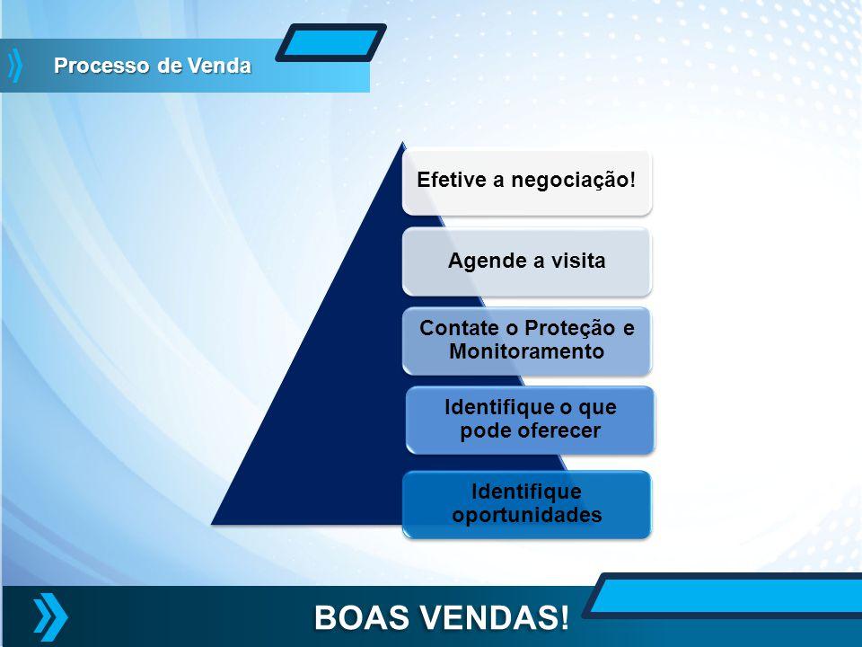 Efetive a negociação!Agende a visita Contate o Proteção e Monitoramento Identifique oportunidades BOAS VENDAS! Identifique o que pode oferecer Process