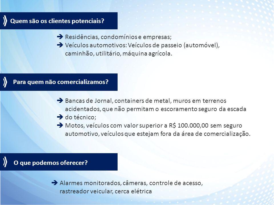  Residências, condomínios e empresas;  Veículos automotivos: Veículos de passeio (automóvel), caminhão, utilitário, máquina agrícola.  Bancas de Jo