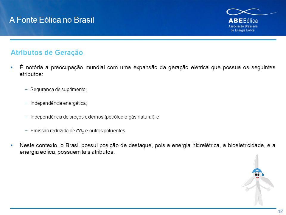 A Fonte Eólica no Brasil 12 Atributos de Geração