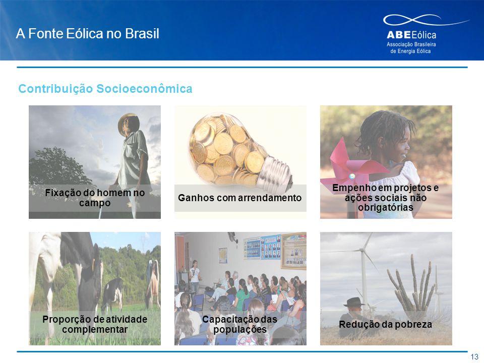 A Fonte Eólica no Brasil Fixação do homem no campo Ganhos com arrendamento Empenho em projetos e ações sociais não obrigatórias Proporção de atividade