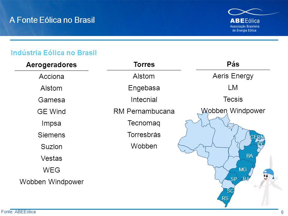 A Fonte Eólica no Brasil 7 Fonte: ABEEólica Capacidade em Operação: 931,8 MW Capacidade em Operação: 1.430,5 MW Capacidade em Operação: 1.886,4 MW Capacidade em Operação: 2.190,6 MW Nota: Capacidade total instalada em 2012: 2.508,4 MW Capacidade total instalada em 2013: 3.456,6 MW Geração (MWmed)