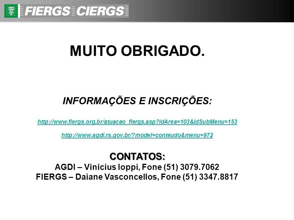 MUITO OBRIGADO. INFORMAÇÕES E INSCRIÇÕES: http://www.fiergs.org.br/atuacao_fiergs.asp?idArea=103&idSubMenu=153 http://www.agdi.rs.gov.br/?model=conteu