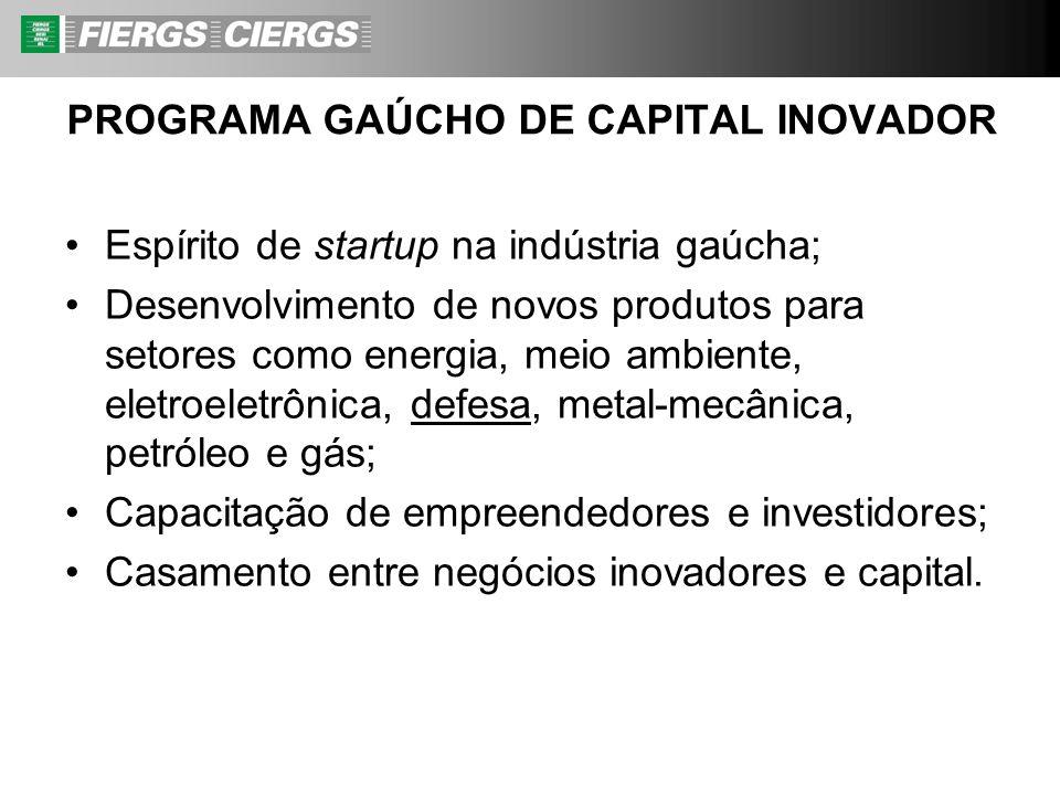 Espírito de startup na indústria gaúcha; Desenvolvimento de novos produtos para setores como energia, meio ambiente, eletroeletrônica, defesa, metal-m