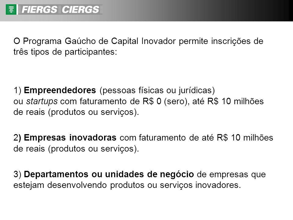 O Programa Gaúcho de Capital Inovador permite inscrições de três tipos de participantes: 1) Empreendedores (pessoas físicas ou jurídicas) ou startups