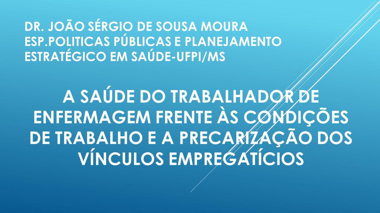 DR. JOÃO SÉRGIO DE SOUSA MOURA ESP.POLITICAS PÚBLICAS E PLANEJAMENTO ESTRATÉGICO EM SAÚDE-UFPI/MS A SAÚDE DO TRABALHADOR DE ENFERMAGEM FRENTE ÀS CONDI