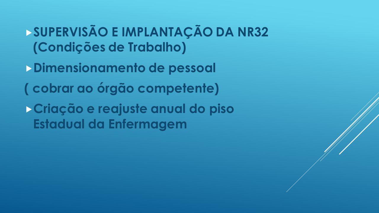  SUPERVISÃO E IMPLANTAÇÃO DA NR32 (Condições de Trabalho)  Dimensionamento de pessoal ( cobrar ao órgão competente)  Criação e reajuste anual do pi