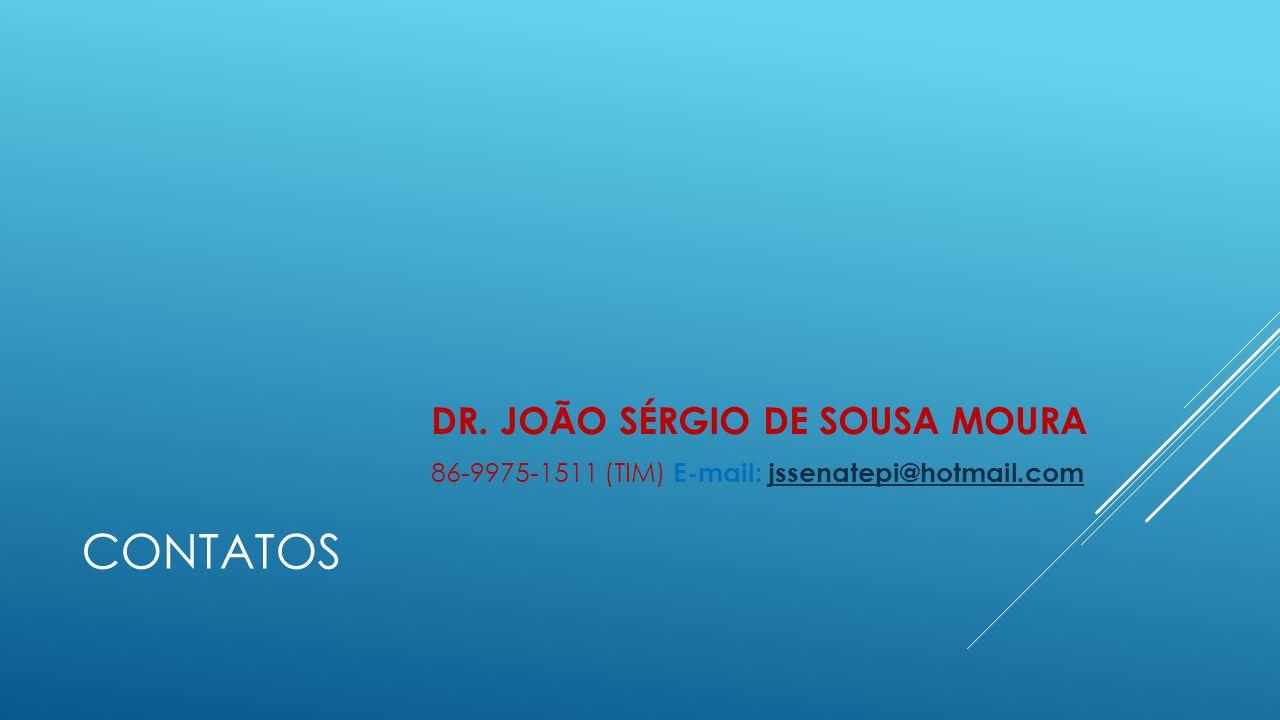CONTATOS DR. JOÃO SÉRGIO DE SOUSA MOURA 86-9975-1511 (TIM) E-mail: jssenatepi@hotmail.comjssenatepi@hotmail.com