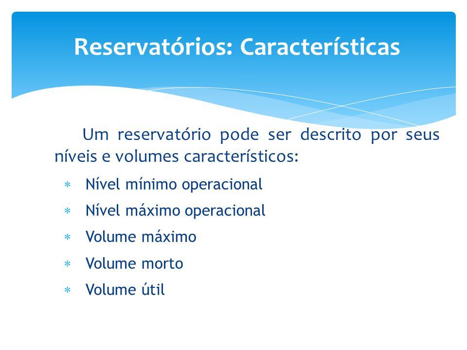 Um reservatório pode ser descrito por seus níveis e volumes característicos:  Nível mínimo operacional  Nível máximo operacional  Volume máximo  V