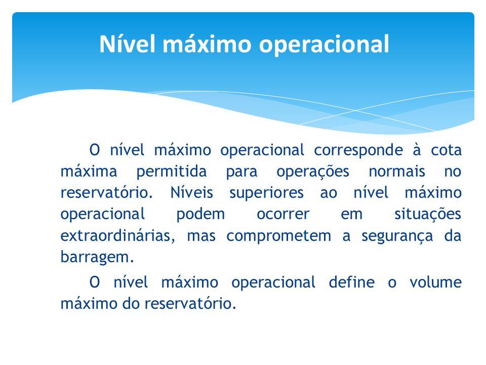 O nível máximo operacional corresponde à cota máxima permitida para operações normais no reservatório. Níveis superiores ao nível máximo operacional p