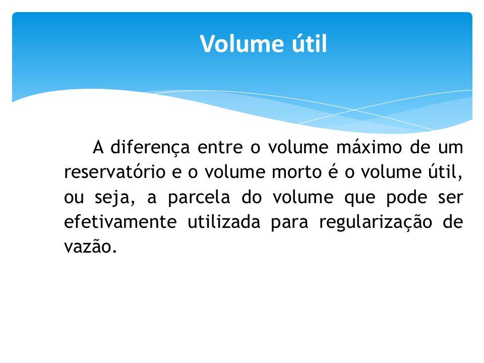 A diferença entre o volume máximo de um reservatório e o volume morto é o volume útil, ou seja, a parcela do volume que pode ser efetivamente utilizad