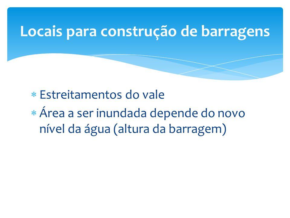  Estreitamentos do vale  Área a ser inundada depende do novo nível da água (altura da barragem) Locais para construção de barragens