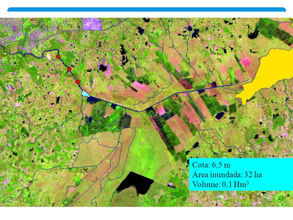 Cota: 6,5 m Área inundada: 32 ha Volume: 0,1 Hm 3