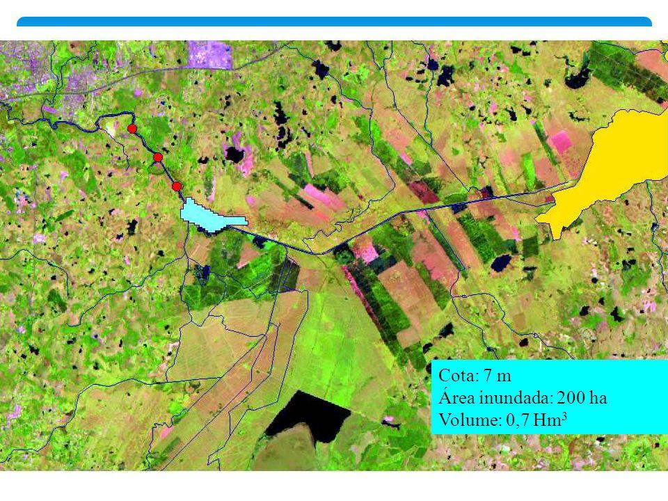 Cota: 7 m Área inundada: 200 ha Volume: 0,7 Hm 3
