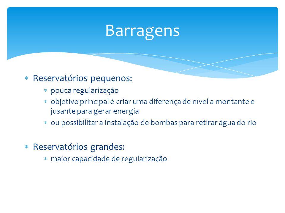  Reservatórios pequenos:  pouca regularização  objetivo principal é criar uma diferença de nível a montante e jusante para gerar energia  ou possi