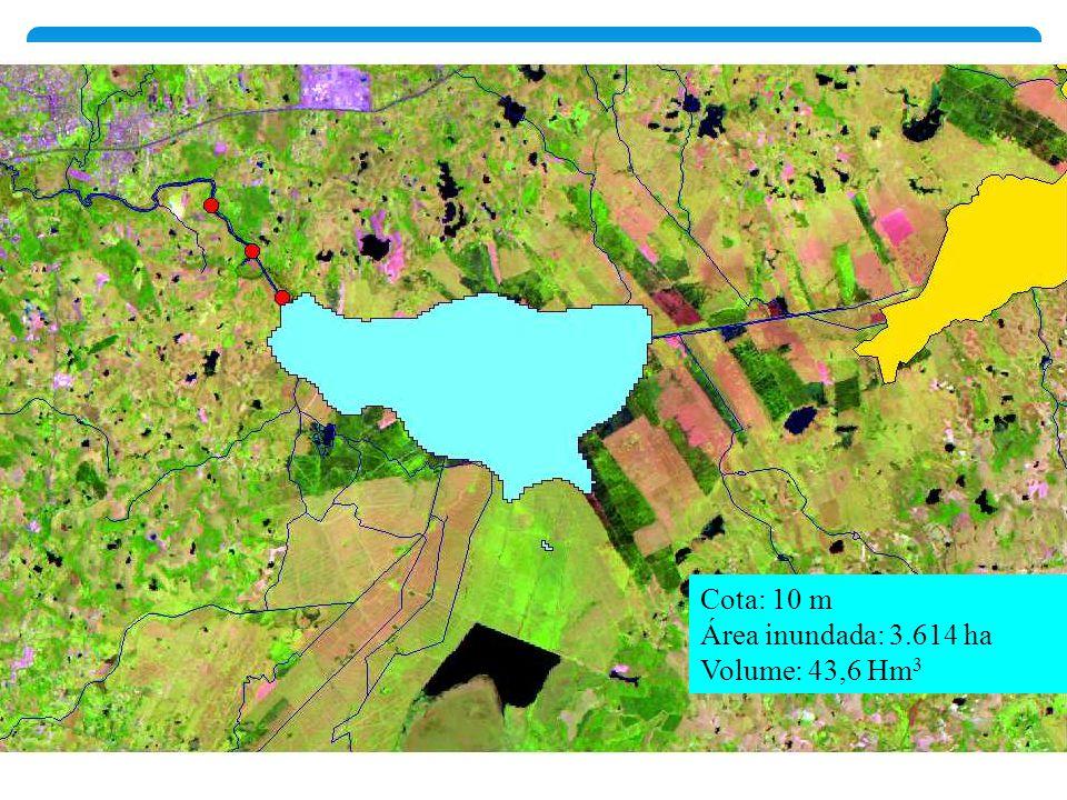 Cota: 10 m Área inundada: 3.614 ha Volume: 43,6 Hm 3